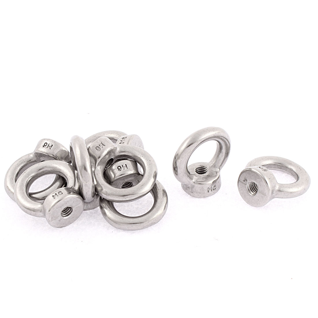 Marine Cable Rope M6 Female Thread Metal Lifting Eye Nuts Bolt Ring 8pcs
