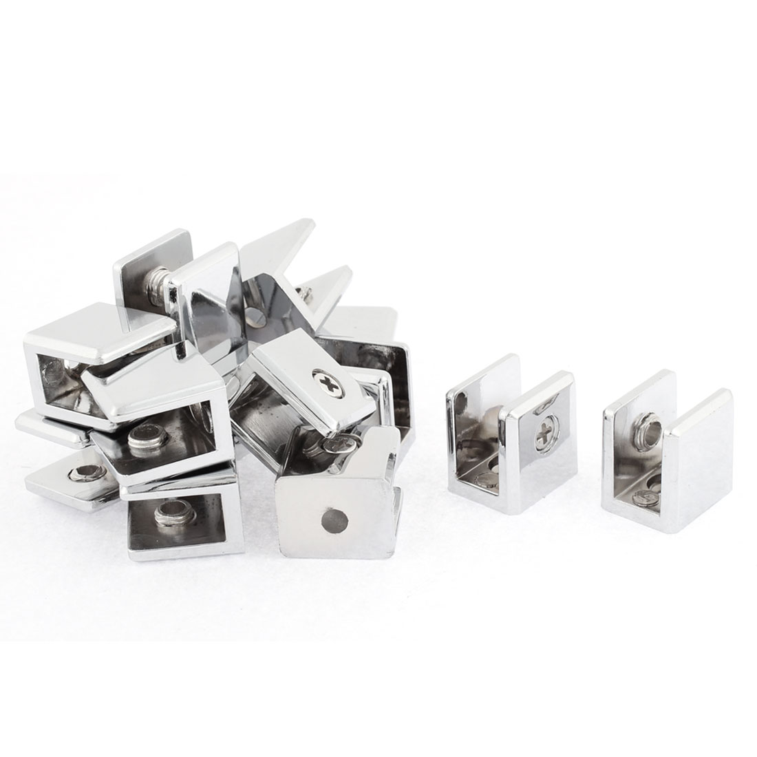 10mm Thickness Glass Shelf Bracket Support Clip Clamp Silver Tone 16pcs