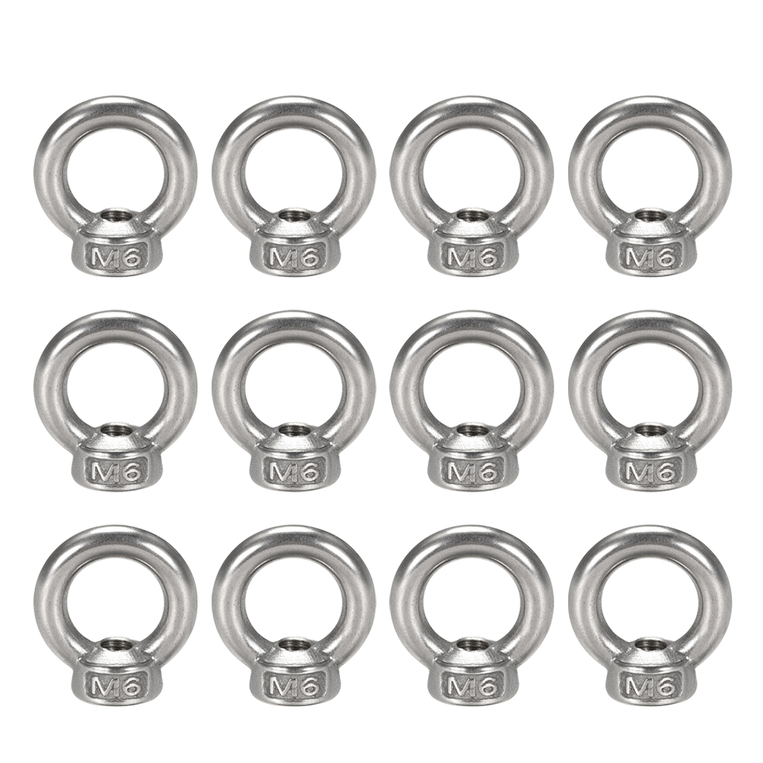 Marine Cable Rope M6 Female Thread Dia Lifting Eye Nuts Bolt Ring 12pcs