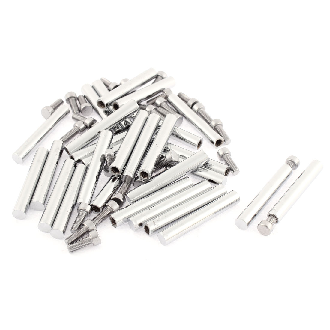 Advertisement Glass Wall Mounted Screw Nails Clamp Holder Silver Tone 8 x 55mm 30pcs