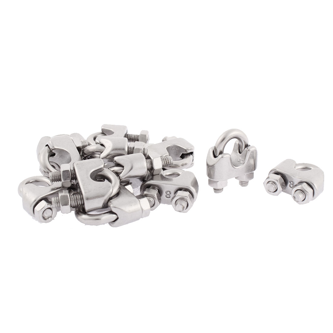 M8 Wire Rope Cable Clamp Clips Silver Tone 12pcs