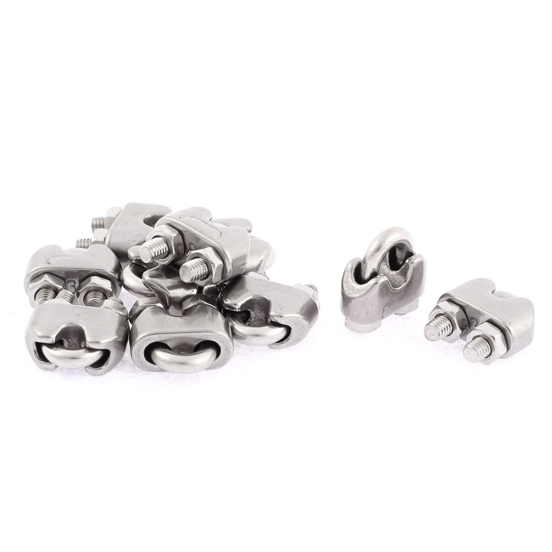 M3 Wire Rope Clip Cable Clamp Fastener Silver Tone 10pcs