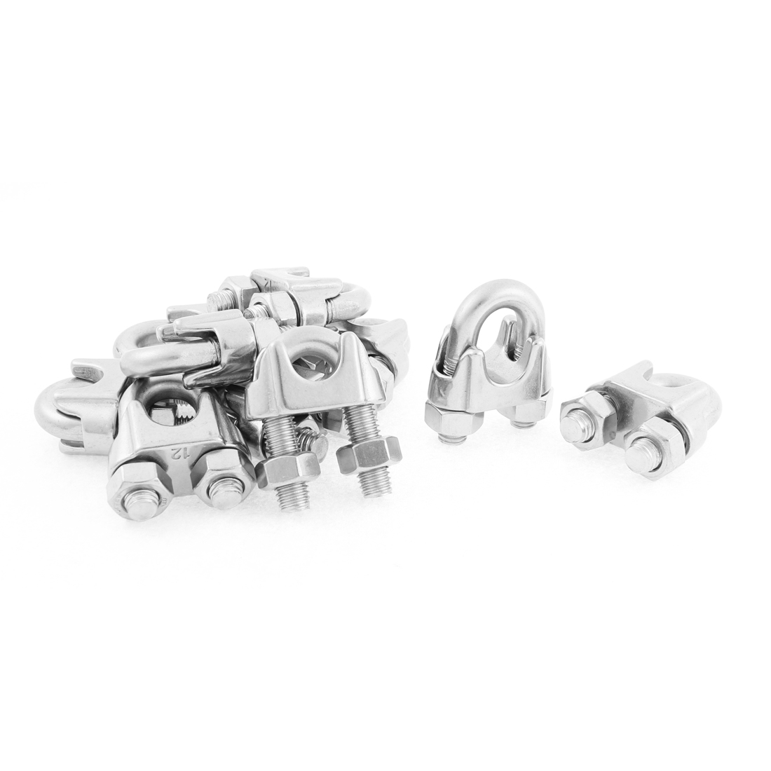 M12 Wire Rope Cable Clips Fastener Silver Tone 10pcs