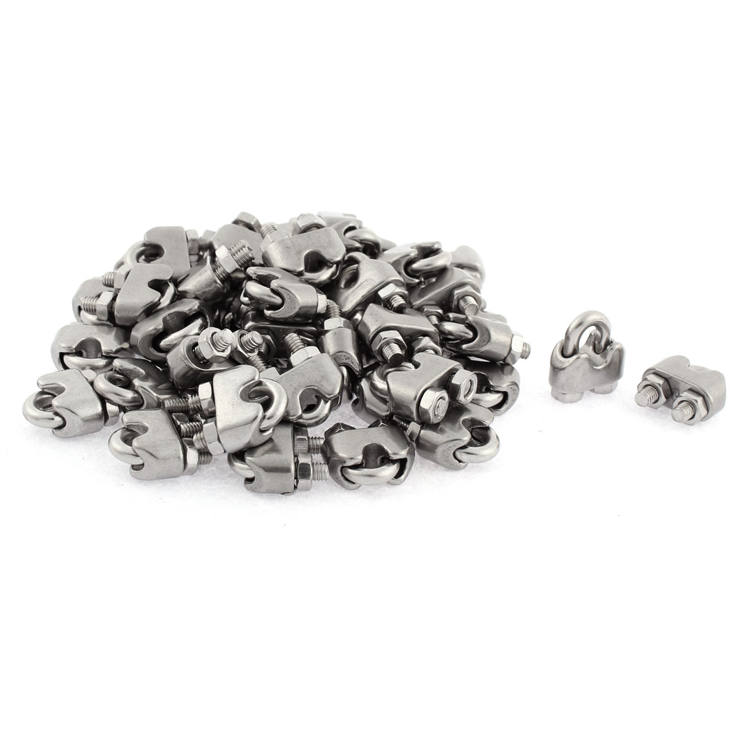 M3 Stainless Steel Wire Rope Clamp Clip Silver Tone 50pcs