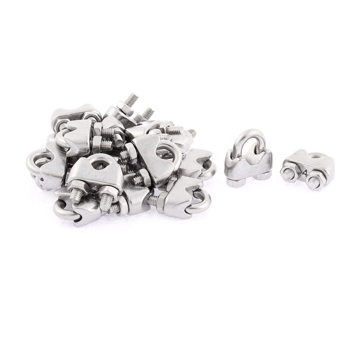 M4 Stainless Steel Wire Rope Cable Clamp Clips Fastener 20pcs