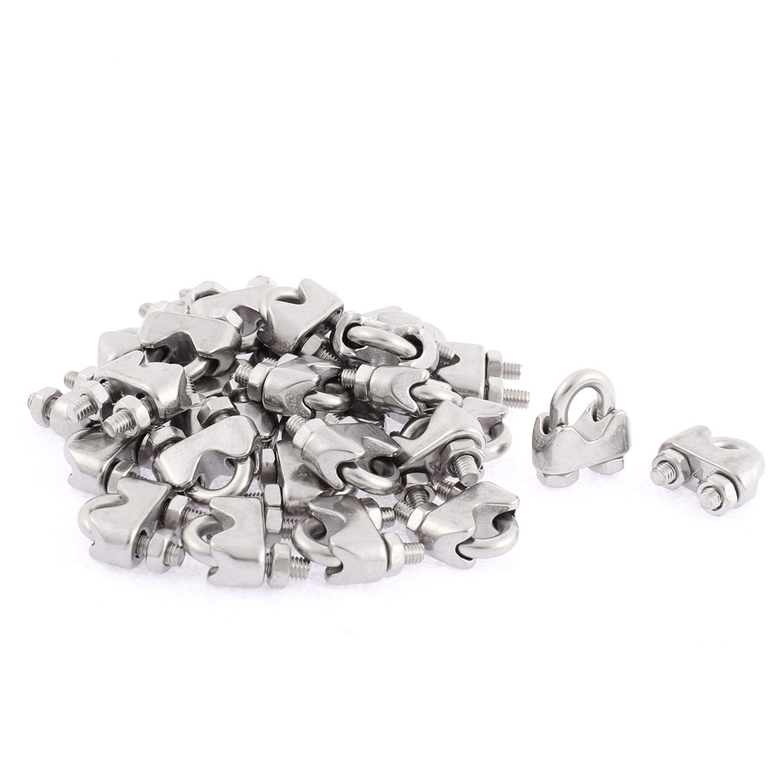 M4 Saddle Screwed Wire Rope Cable Clamps Clips 30pcs