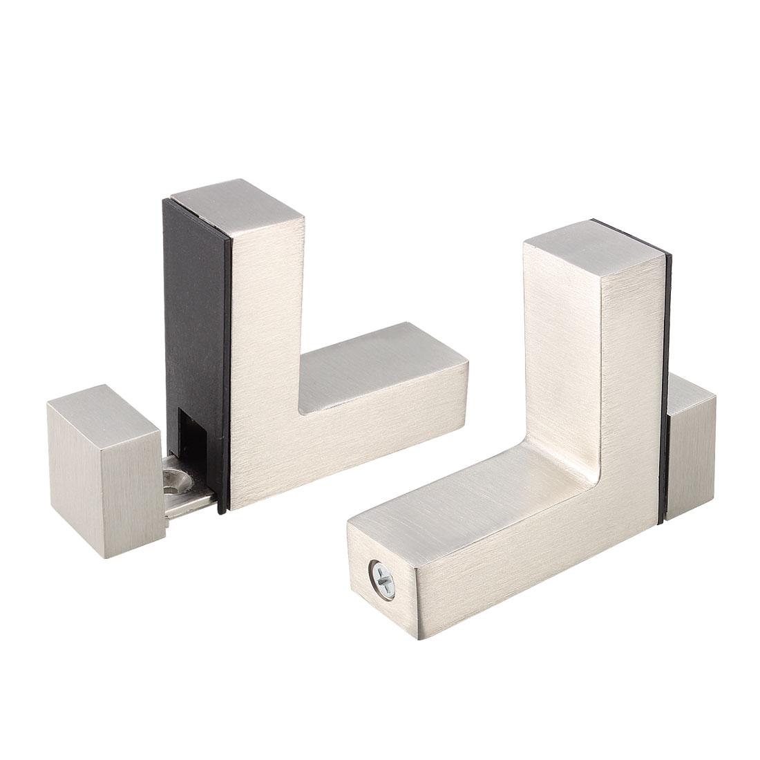 Stainless Steel L Shaped Glass Shelf Clip Clamp Bracket 2pcs