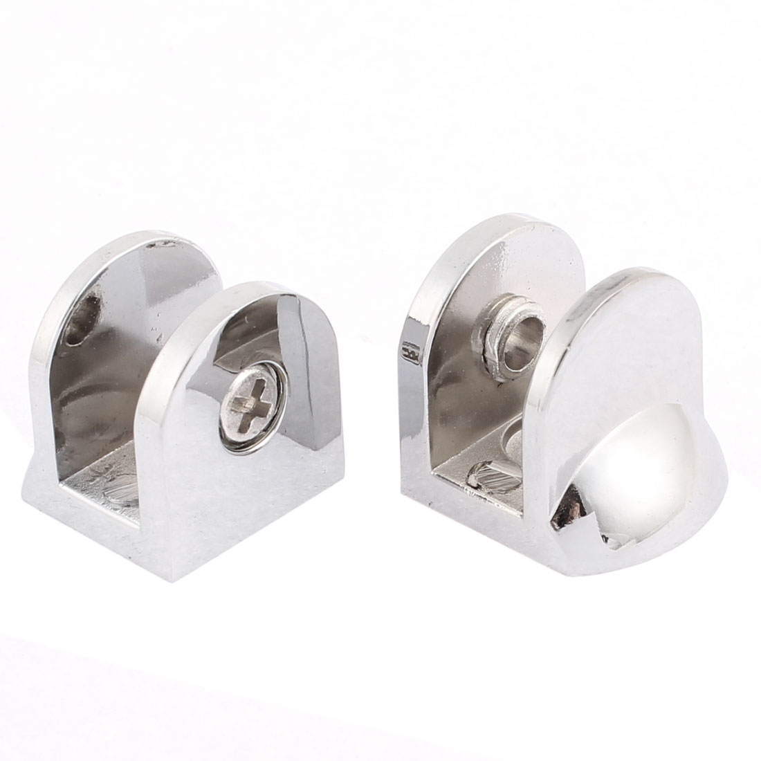 10mm Thickness Metal Glass Shelf Clip Clamp Bracket Support 2pcs