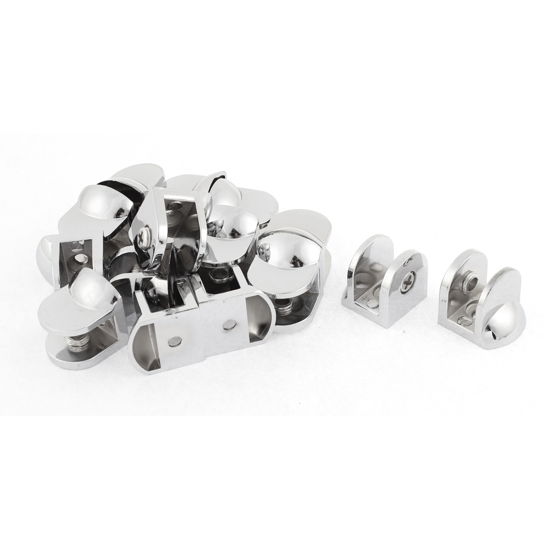 Semicircle Adjustable 8-10mm Thickness Glass Clip Clamp Bracket Support 16pcs