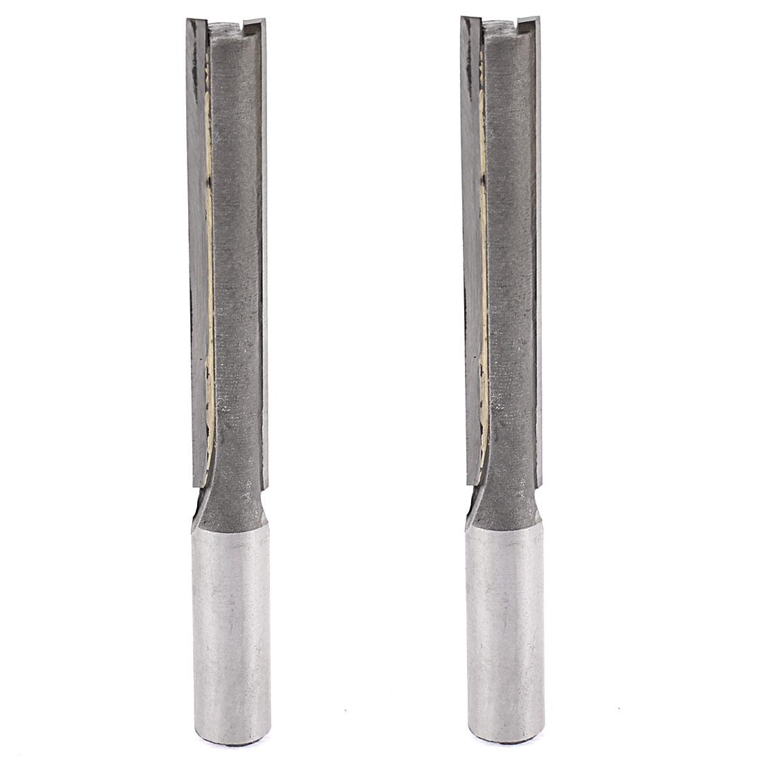 """1/2"""" x 1/2"""" x 3"""" Double Flutes Edges Straight Router Bit 120mm Length 2pcs"""