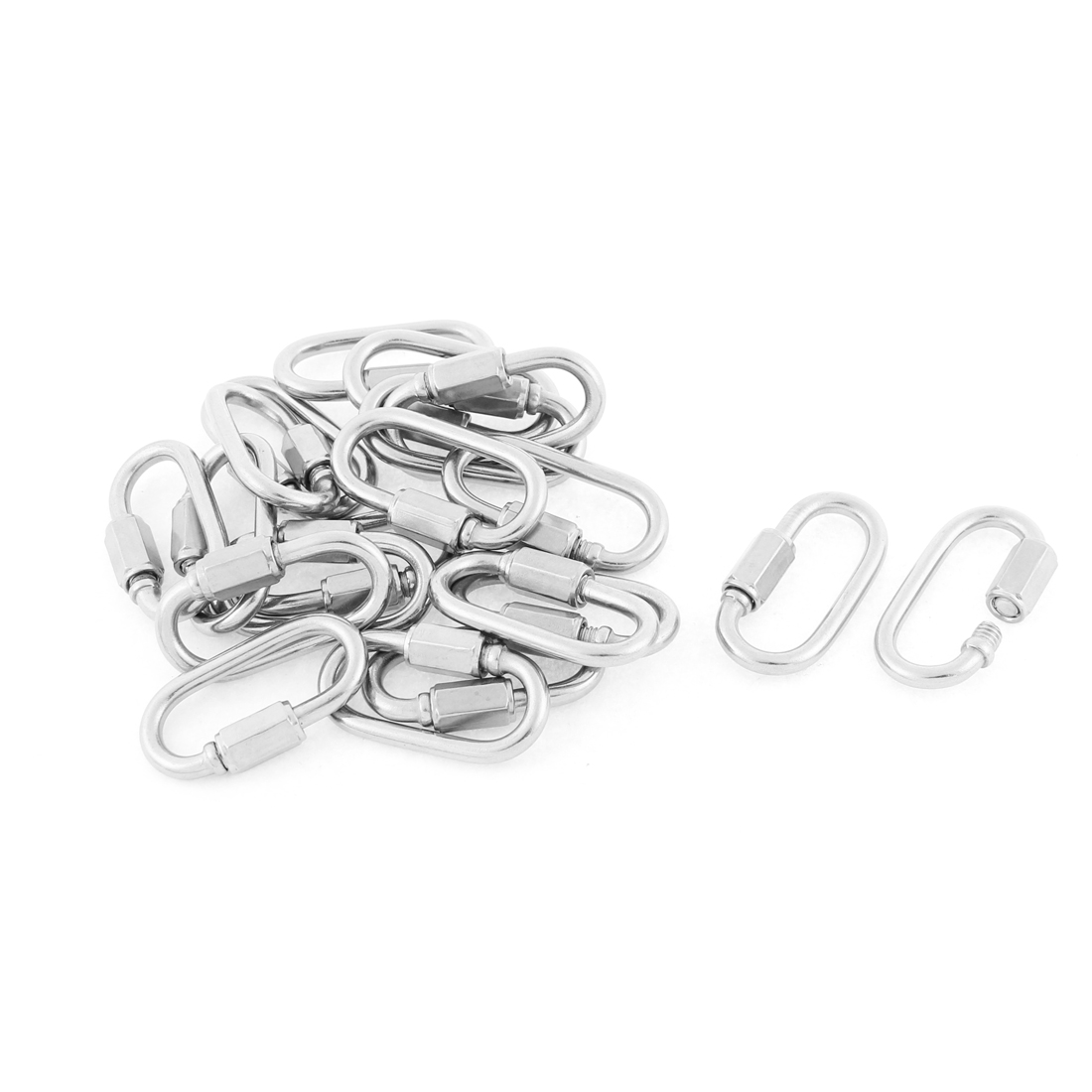 M3.5 Thickness Multifunctional Stainless Steel Quick Links Carabiners Hook 20pcs