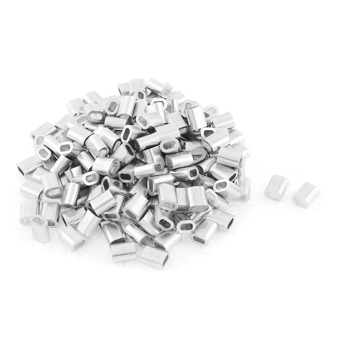 "Steel Wire Rope Aluminum Fittings Loop Ferrules Sleeves 2mm 5/64"" 200 Pcs"