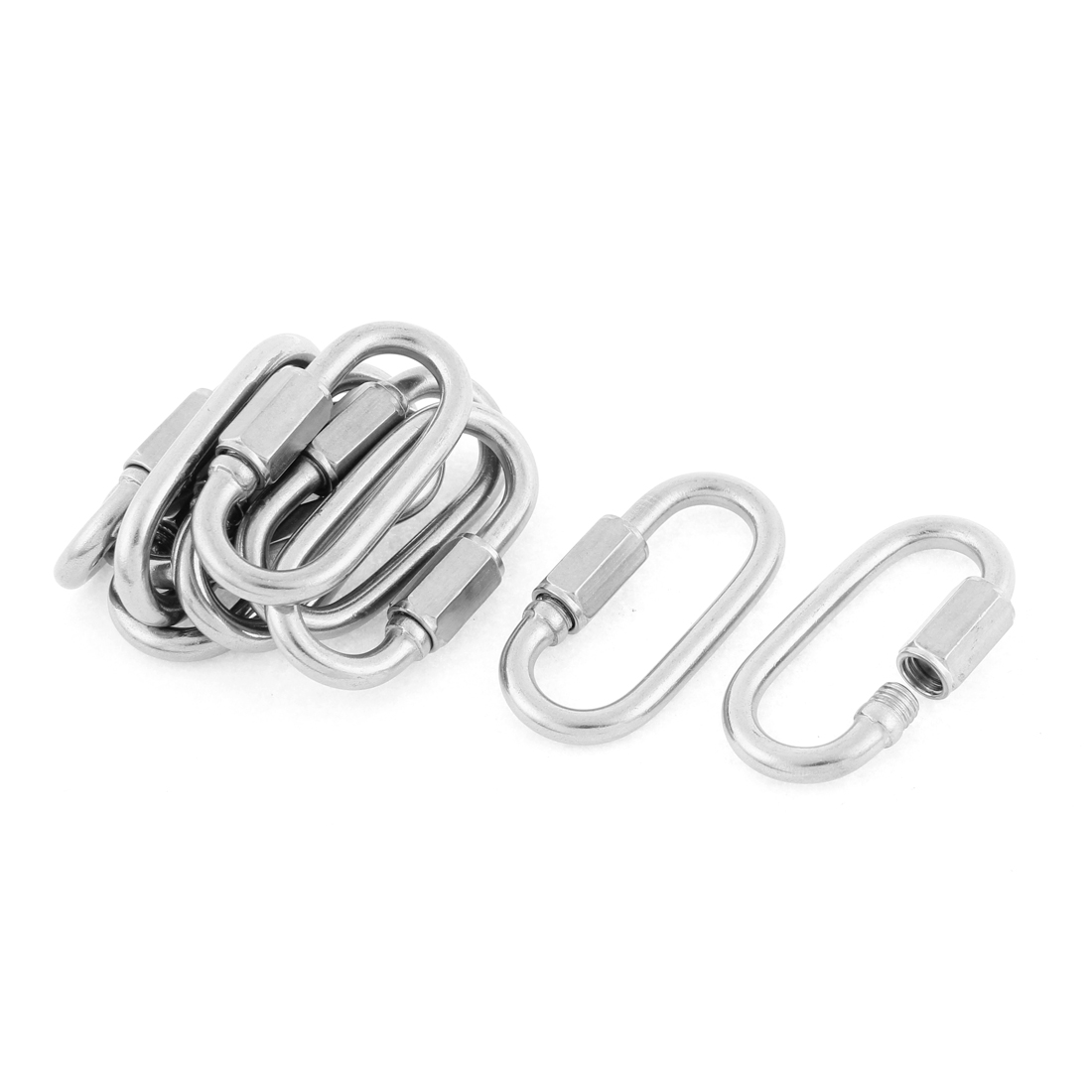 M5 Thickness Multifunctional Stainless Steel Quick Links Carabiners Hook 10pcs