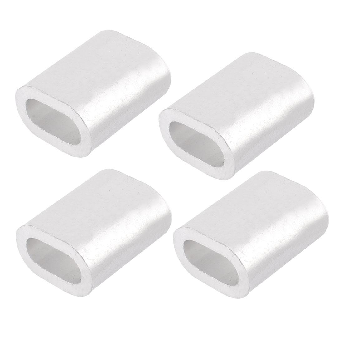 """10mm 25/64"""" Steel Wire Rope Aluminum Ferrules Sleeves Fittings Loop 4 Pcs"""