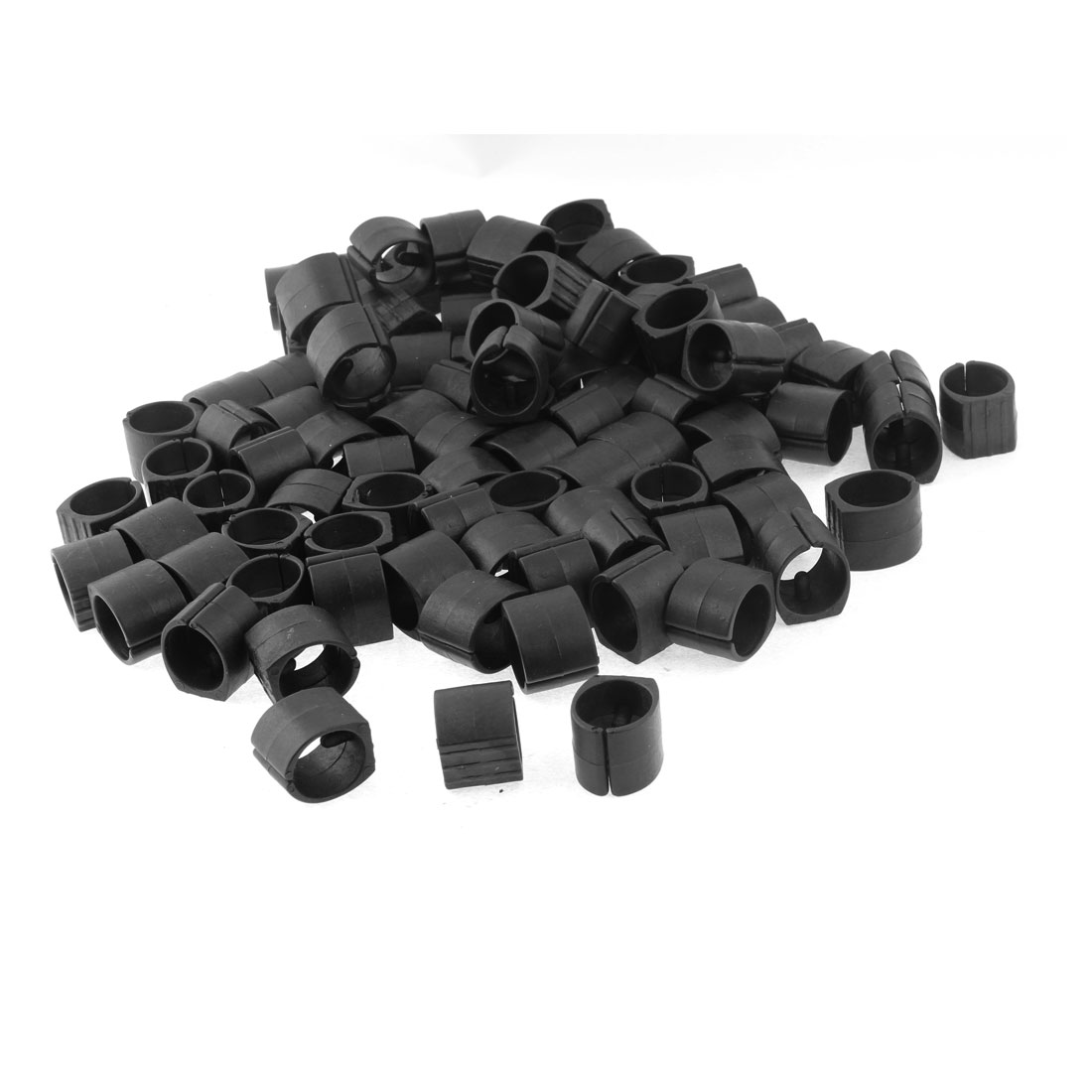 Home Furniture Chair Pipe Plastic Foot Clamp Pads U-Shape Caps Black 100pcs