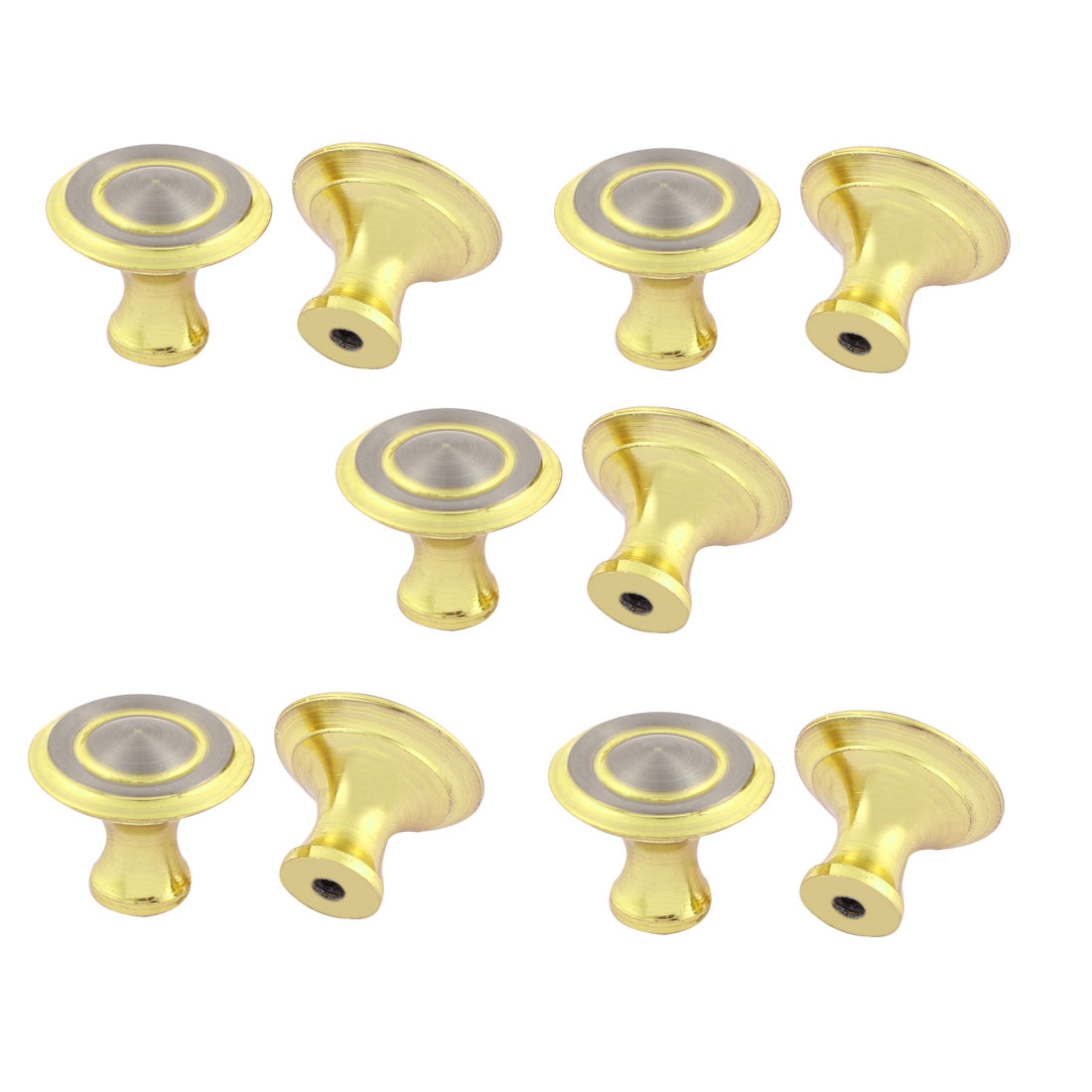 Cupboard Drawer Round Shaped Pull Knob Handle Grip Gold Tone 10pcs