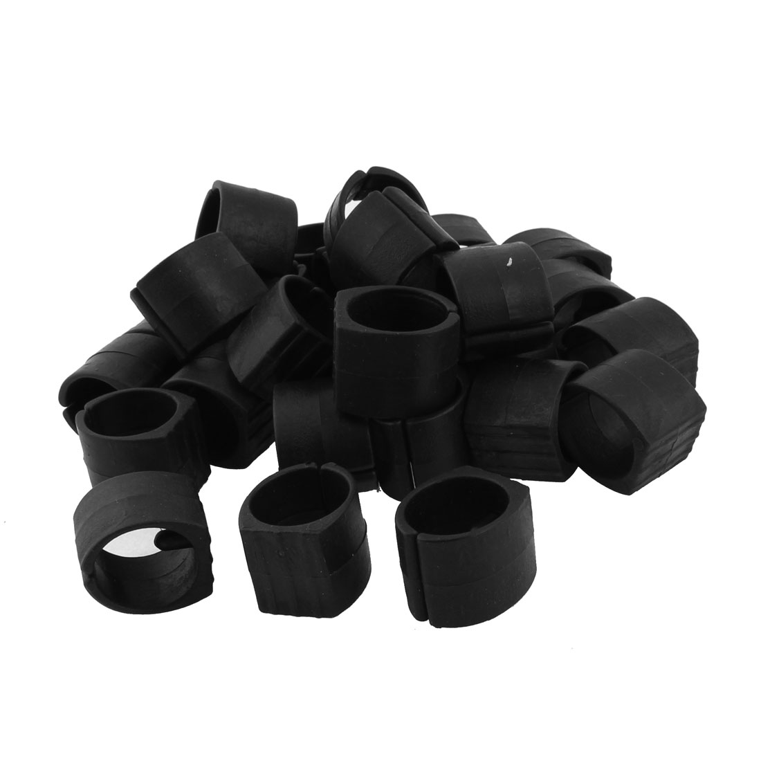 Home Furniture Chair Pipe Plastic Foot Clamp Pads U-Shape Caps Black 30pcs