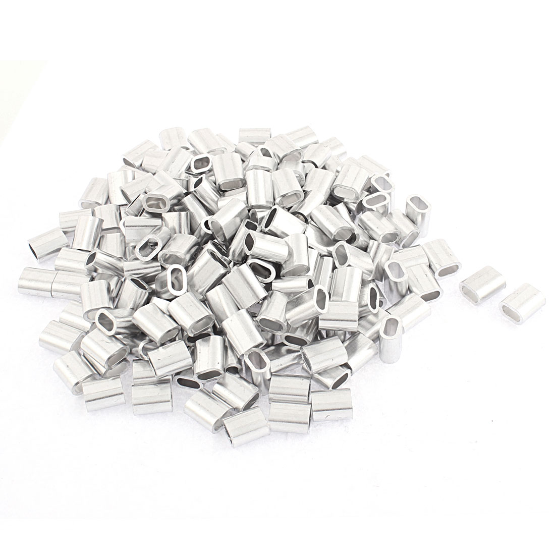 """4mm 5/32"""" Steel Wire Rope Aluminum Ferrules Sleeves Silver Tone 200 Pcs"""