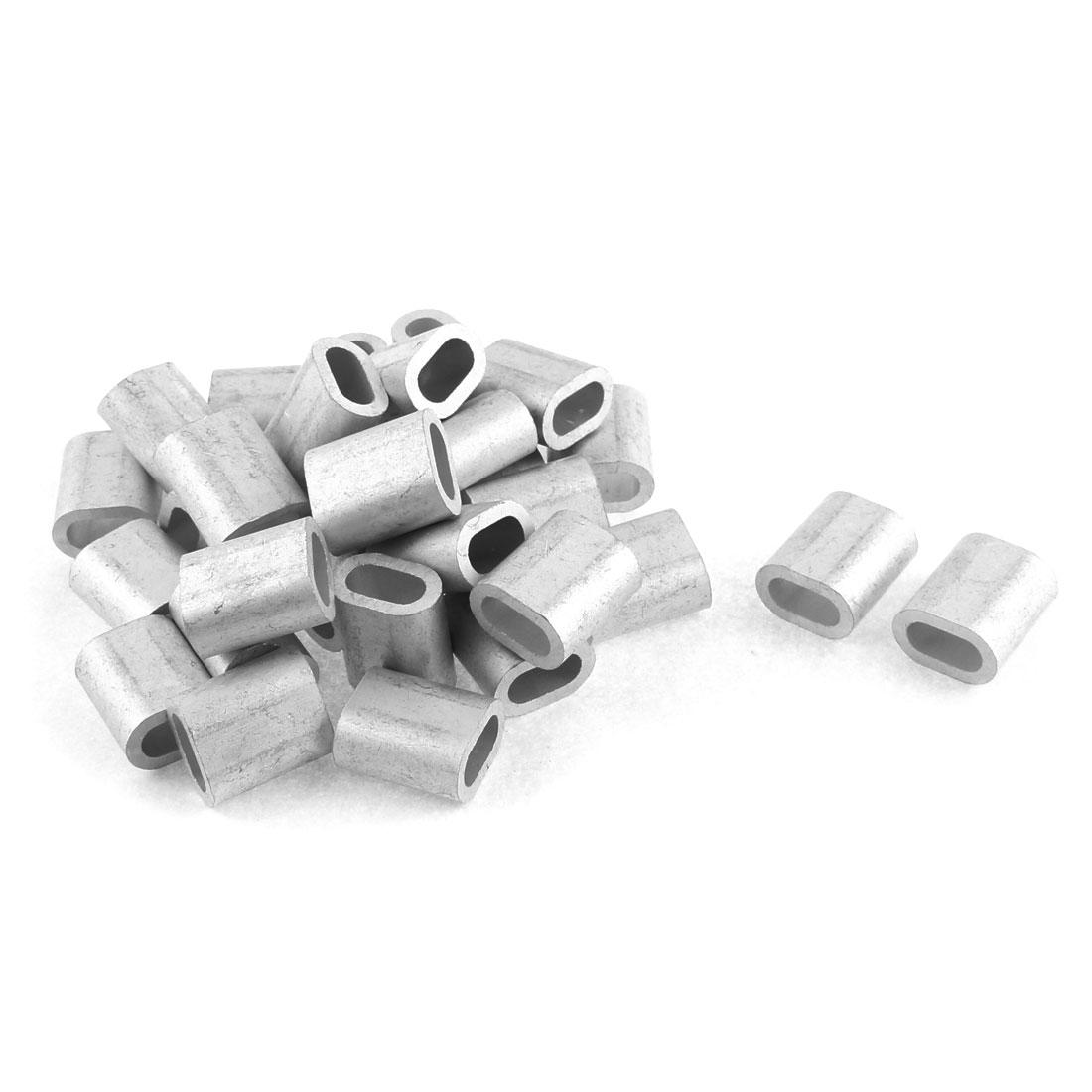 """8mm 5/16"""" Steel Wire Rope Aluminum Ferrules Sleeves Fittings Loops 30 Pcs"""