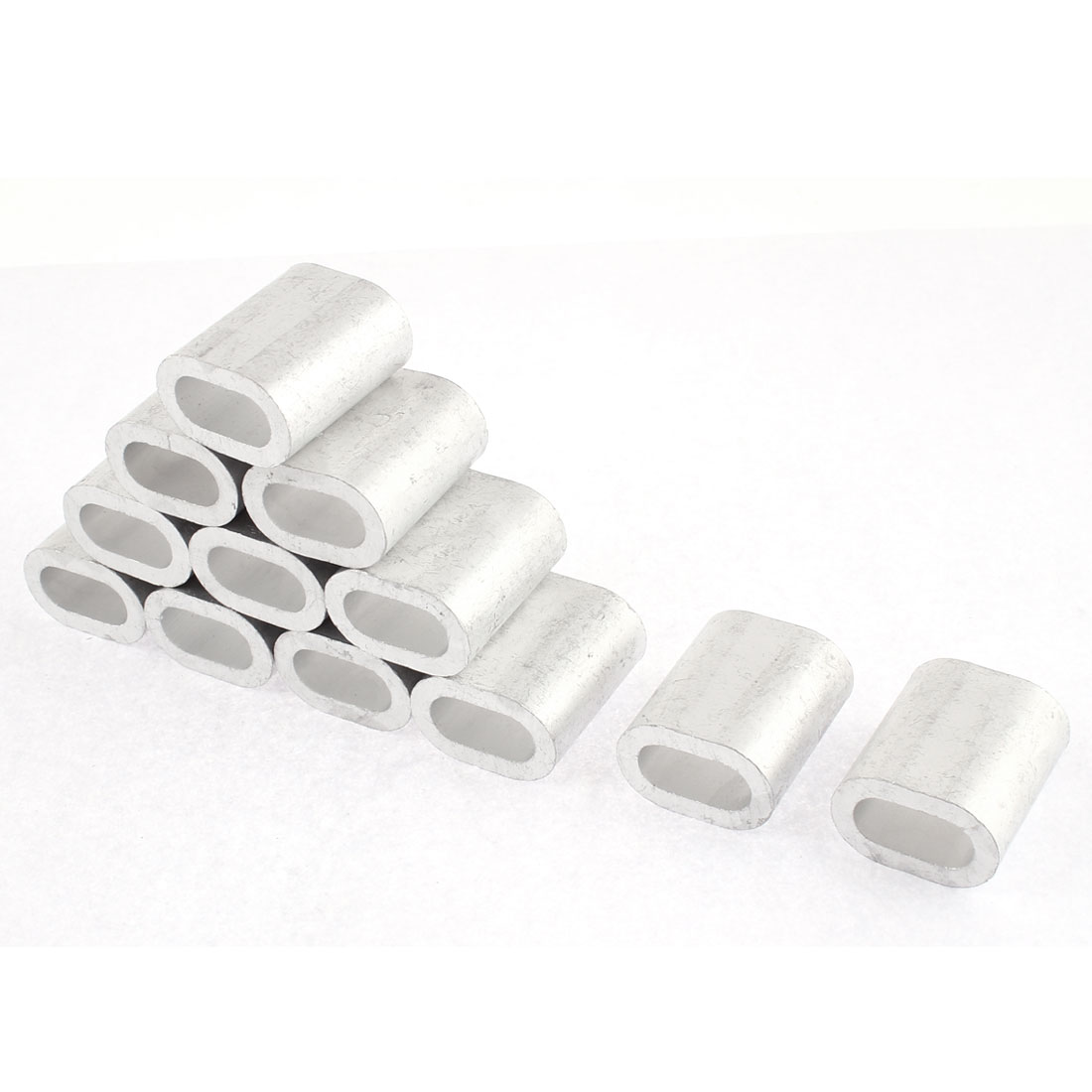 "10mm 25/64"" Steel Wire Rope Aluminum Ferrules Sleeves Fittings Loop Clips 12 Pcs"