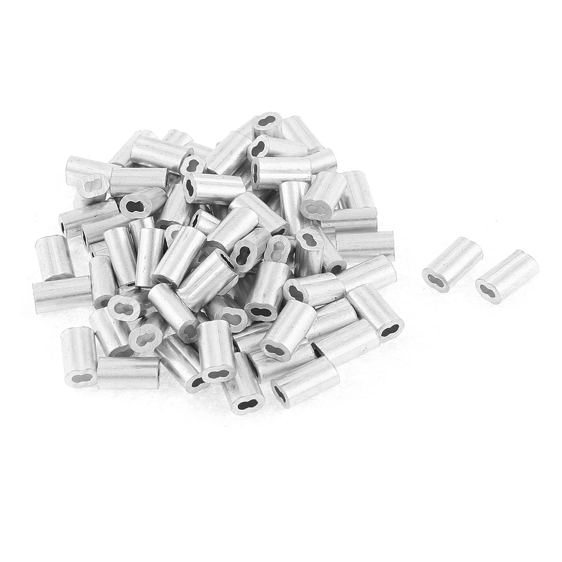"1.2mm 1/20"" Steel Wire Rope Aluminum Ferrules Sleeves Clips Silver Tone 80 Pcs"