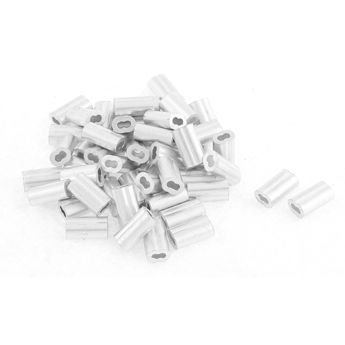 "1.2mm 1/20"" Steel Wire Rope Aluminum Ferrules Sleeves Fittings Loop 50 Pcs"