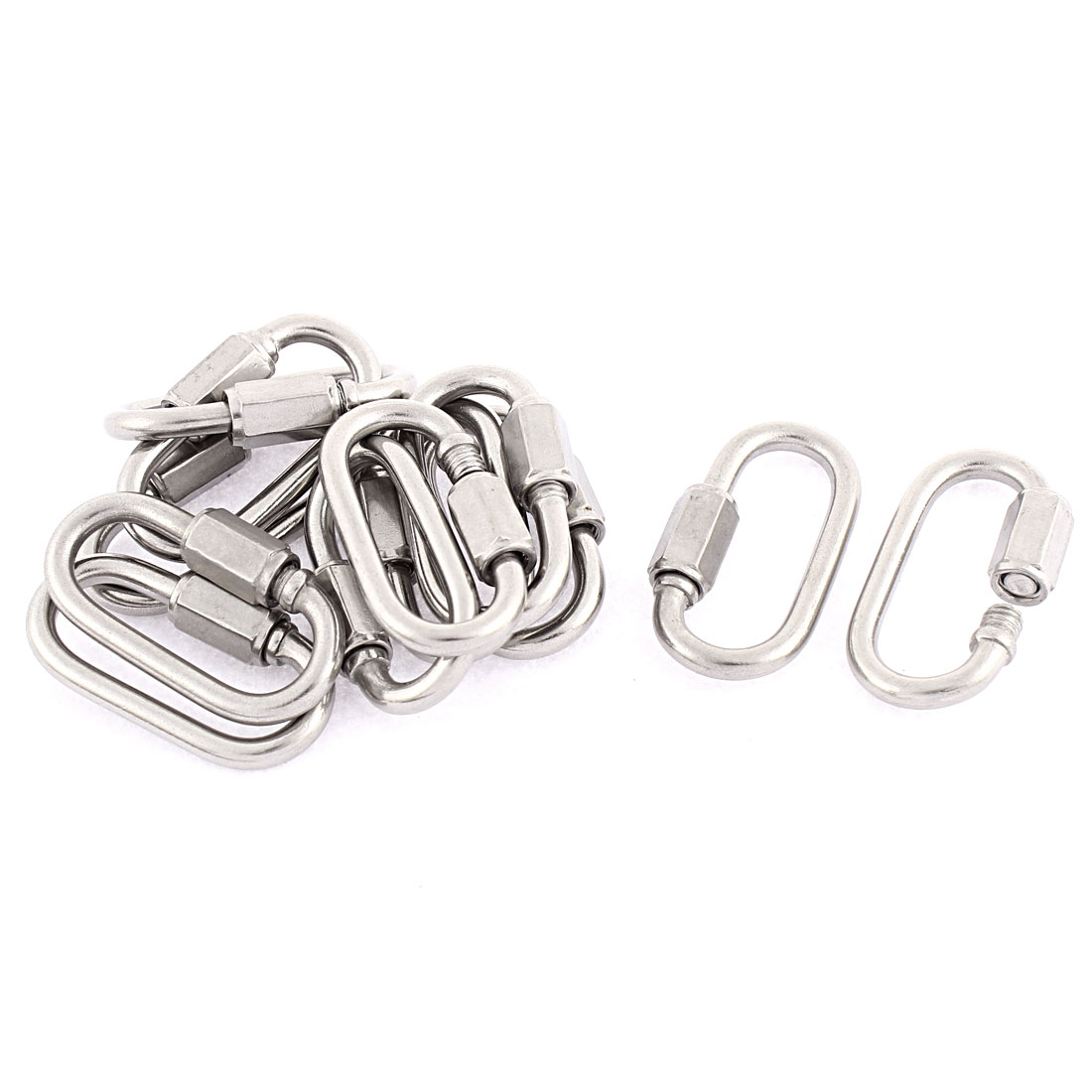 M3.5 Thickness Multifunctional Stainless Steel Quick Links Carabiners 12pcs