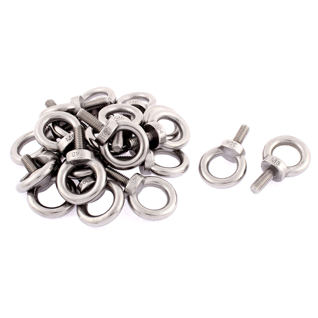 Machinery Shoulder Lifting Eye Bolts Ring M8 x 20mm Male Thread 20pcs