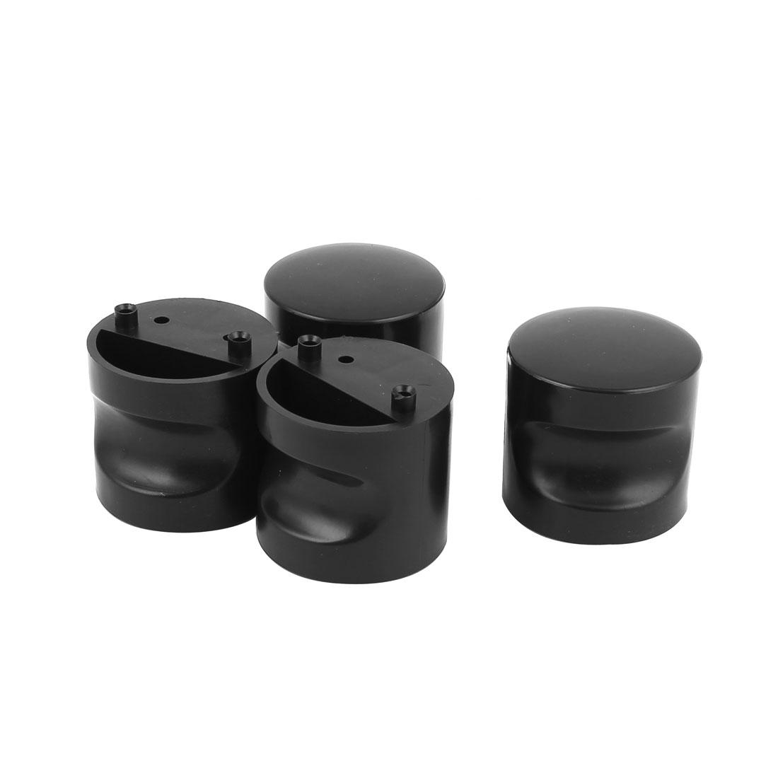 Toliet Door Plastic Cylinder Knob Pull Handle Black 4pcs