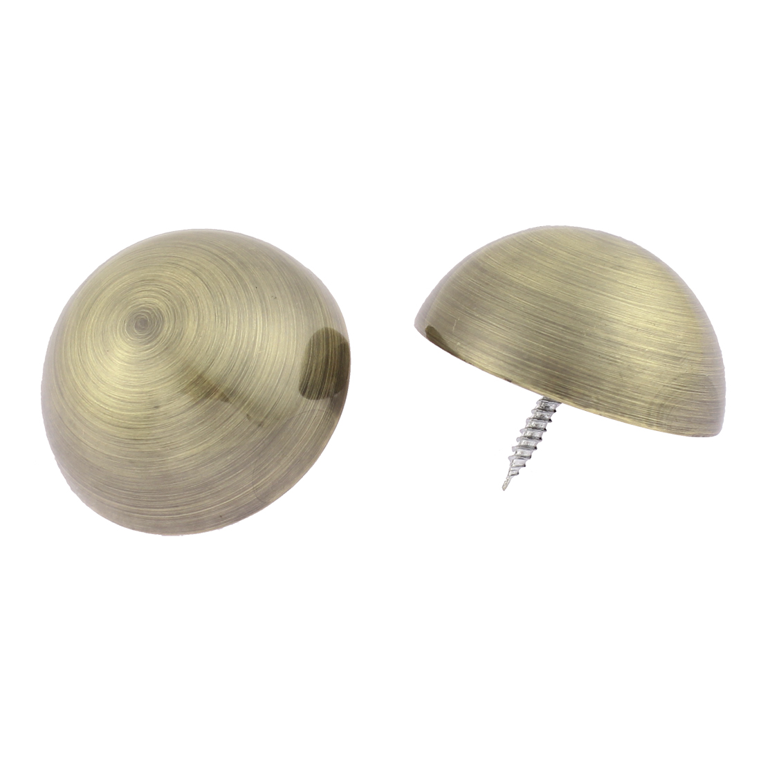 2pcs 46mm Dia Metal Semicircle Glass Mirror Screw Nail Decor Bronze Tone