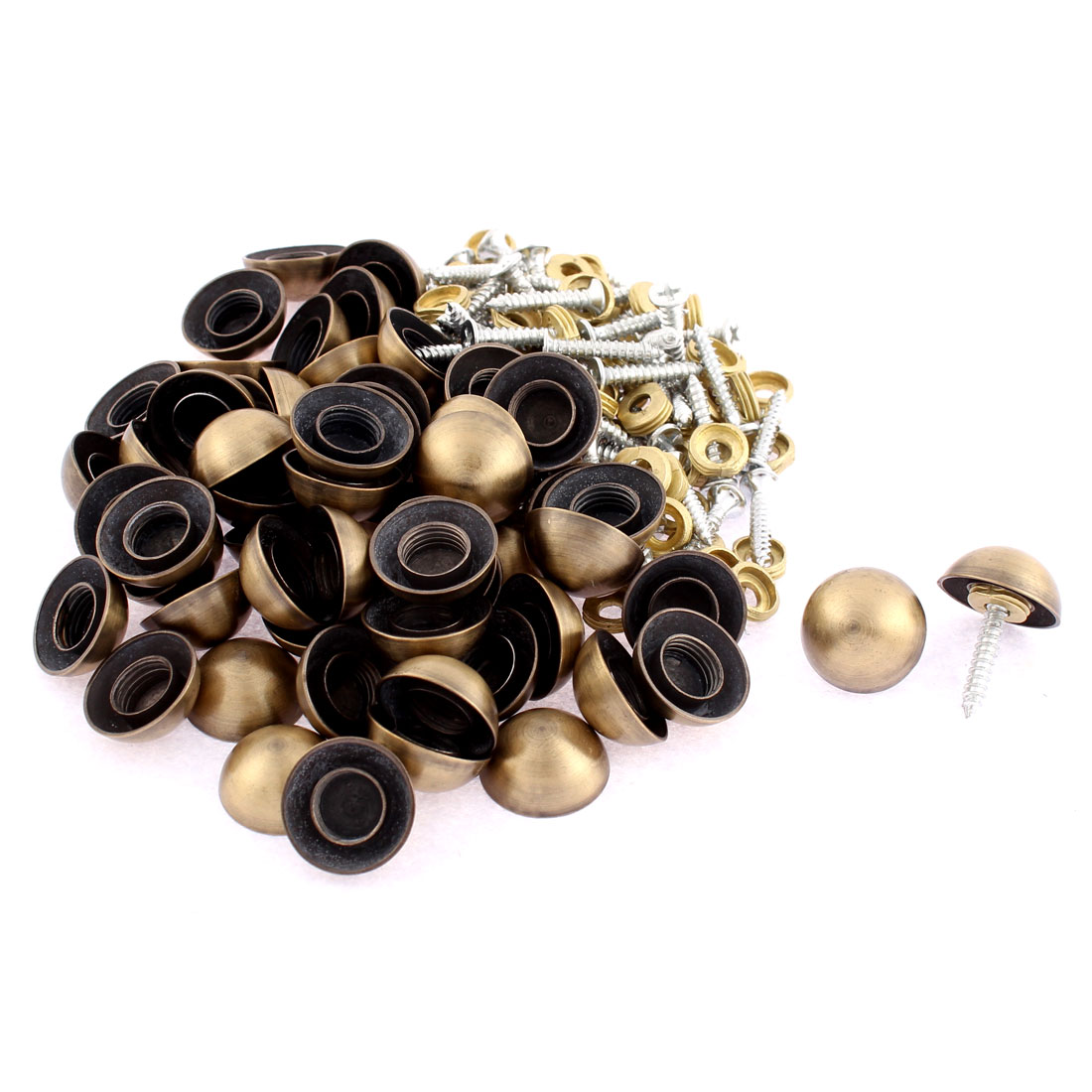Semicircle Glass Mirror Caps Decorative Screws Nails Bronze Tone 18 x 8mm 60pcs