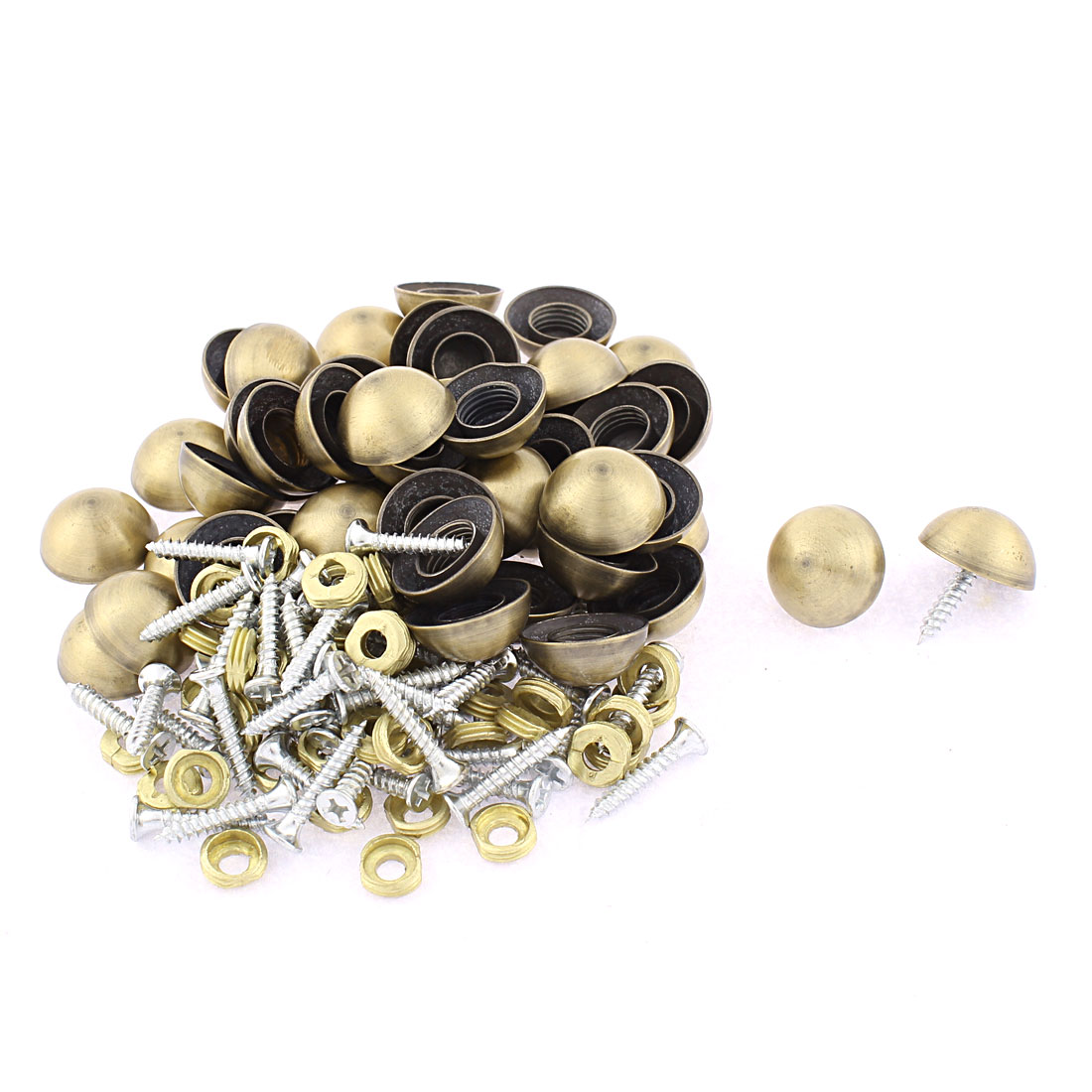 50pcs 18.5mm Dia Metal Semicircle Glass Mirror Screw Nail Decor Bronze Tone