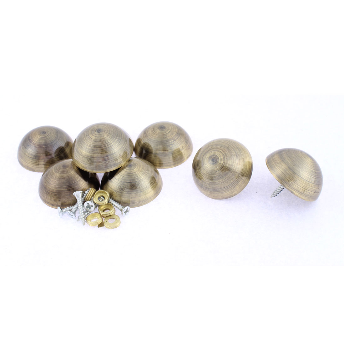 8pcs 36mm Dia Metal Semicircle Glass Mirror Screw Nail Decor Bronze Tone