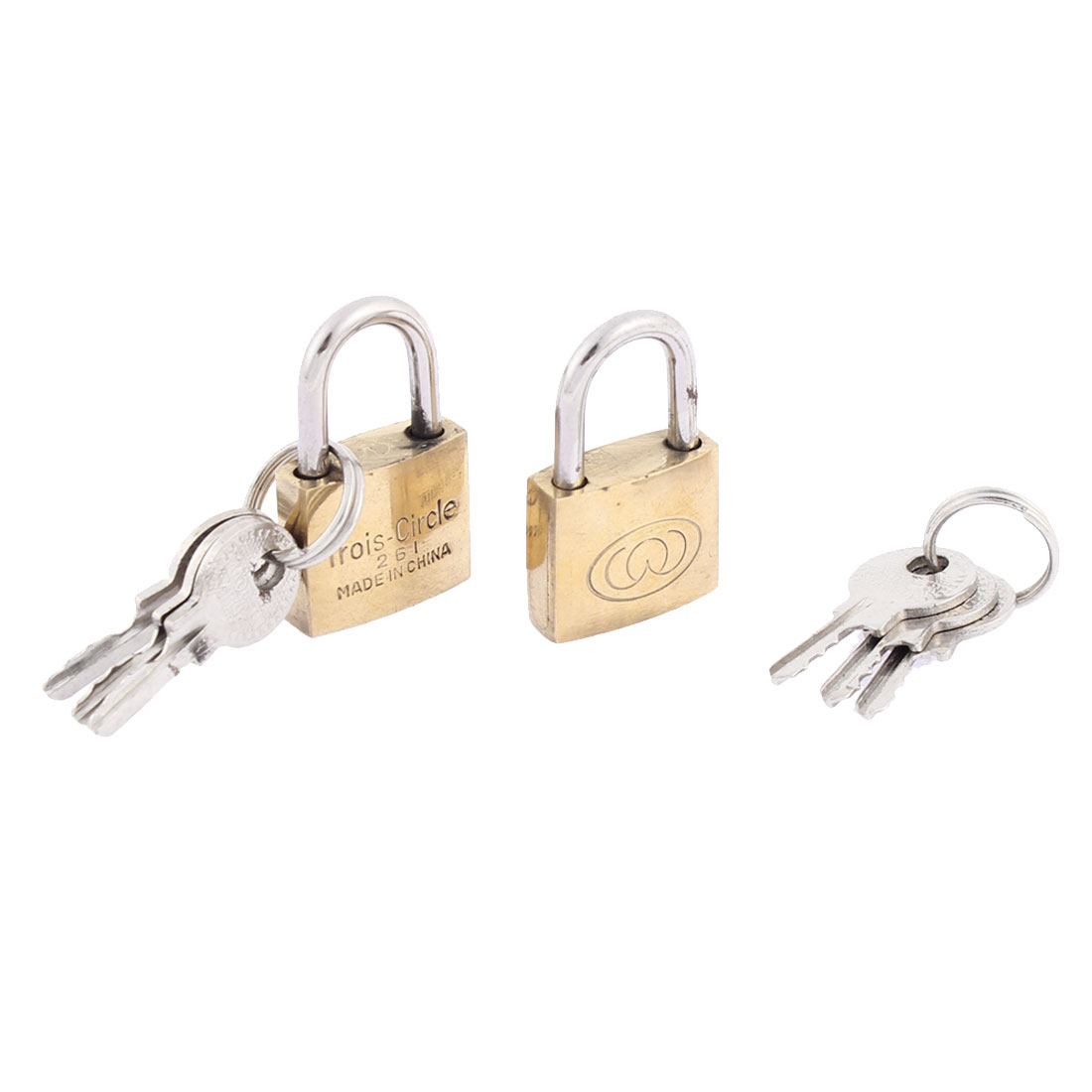 Suitcase Luggage Security Padlock Brass Tone 2pcs w Keys