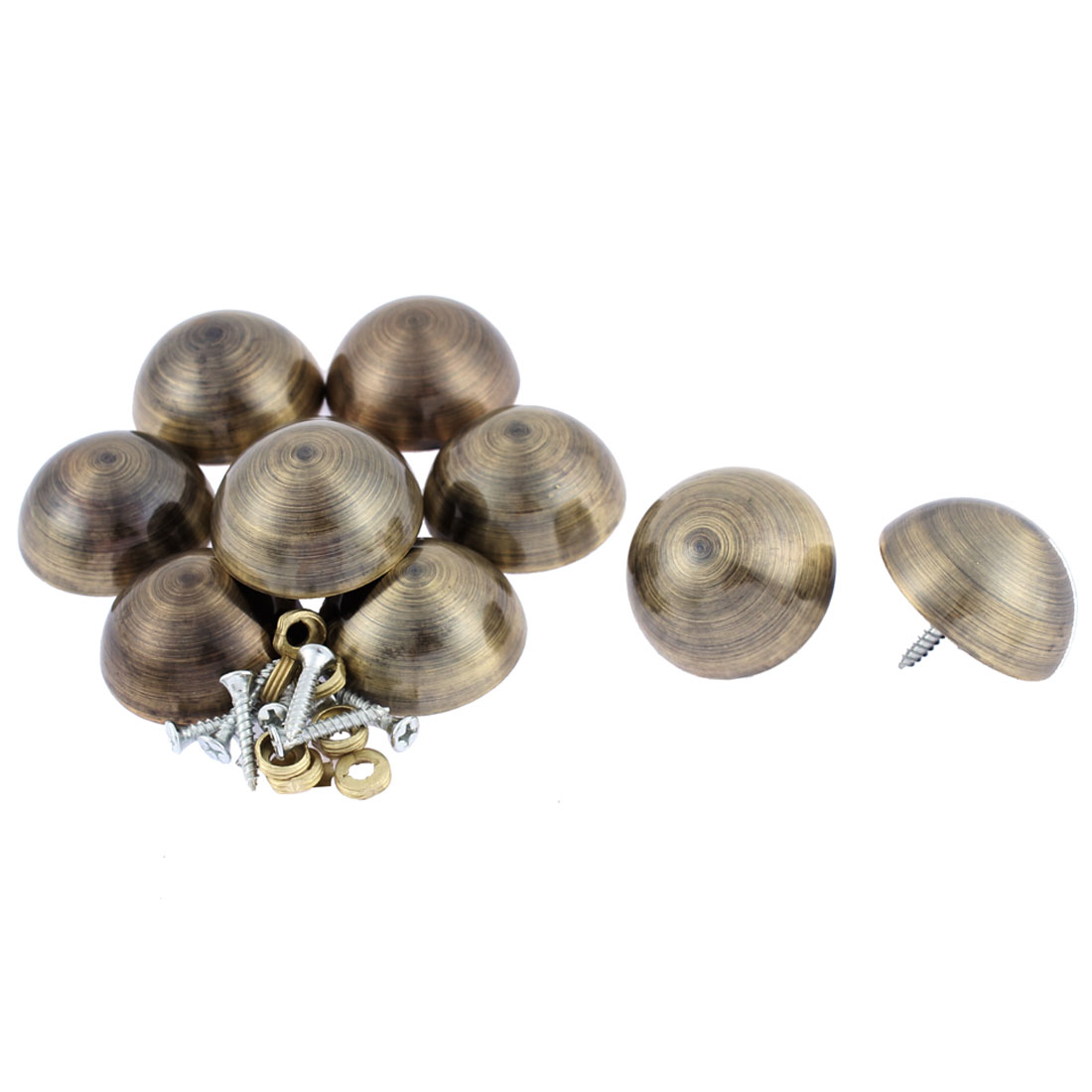 10pcs 36mm Dia Metal Semicircle Glass Mirror Screw Nail Decor Bronze Tone