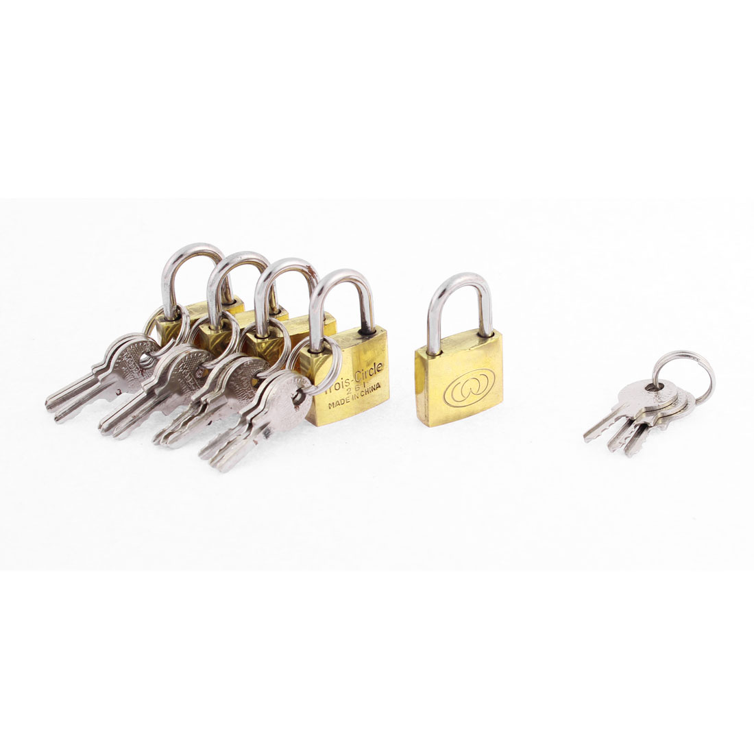 Cabinet Door Locking Security Padlock Brass Tone 5pcs w Keys