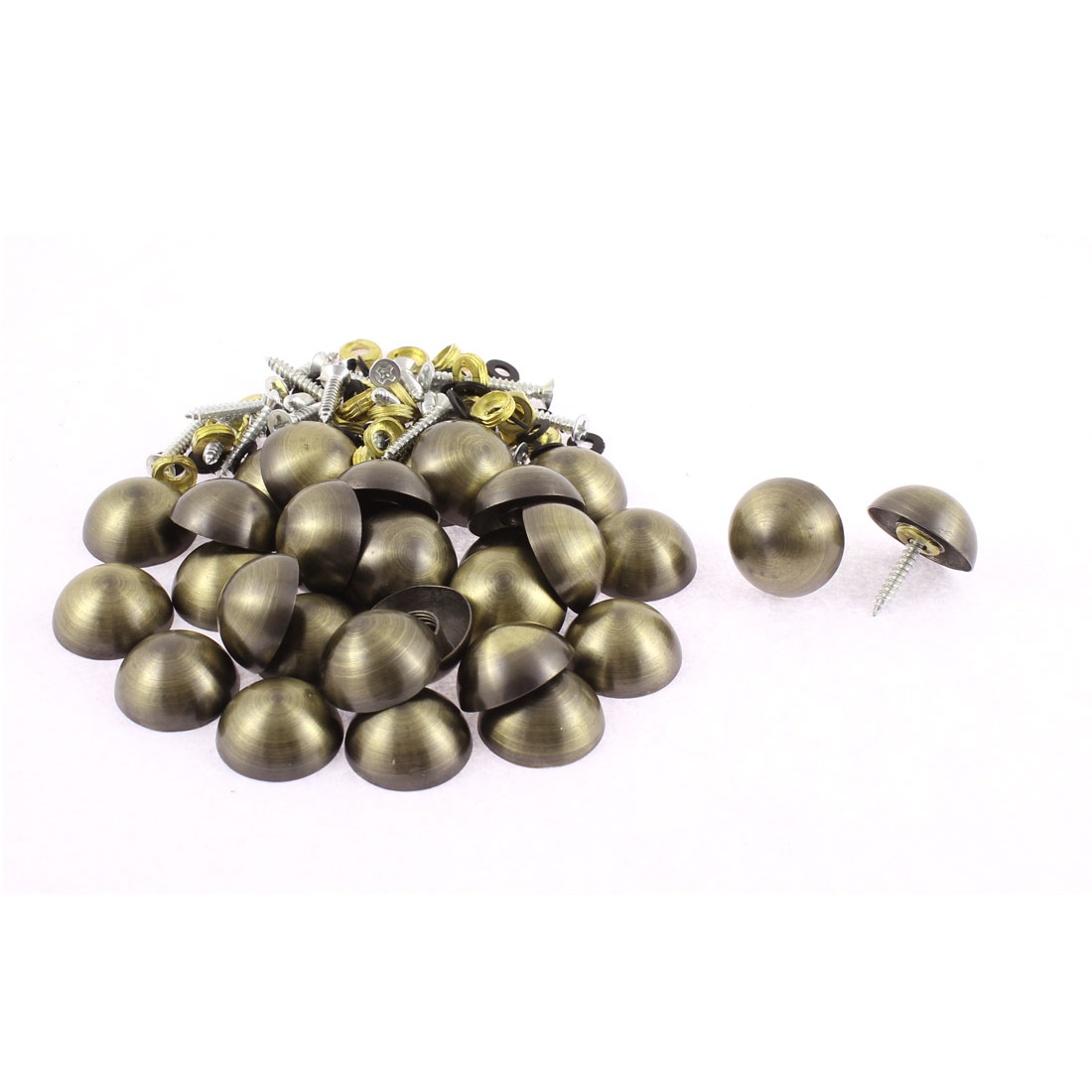 Semicircle Caps Glass Mirror Nails Decor Bronze Tone 23 x 10mm 30pcs
