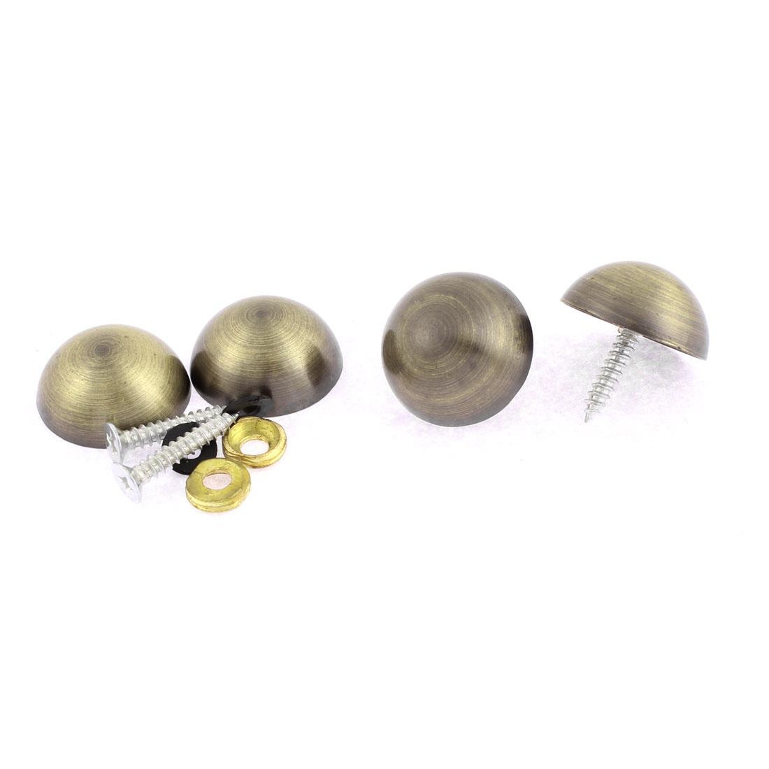 4pcs 23mm Dia Metal Semicircle Glass Mirror Screw Nail Decor Bronze Tone