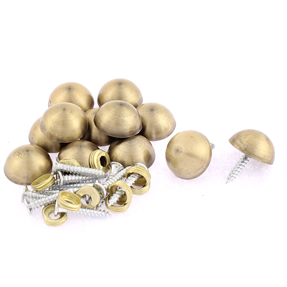 12pcs 18.5mm Dia Metal Semicircle Glass Mirror Screw Nail Decor Bronze Tone