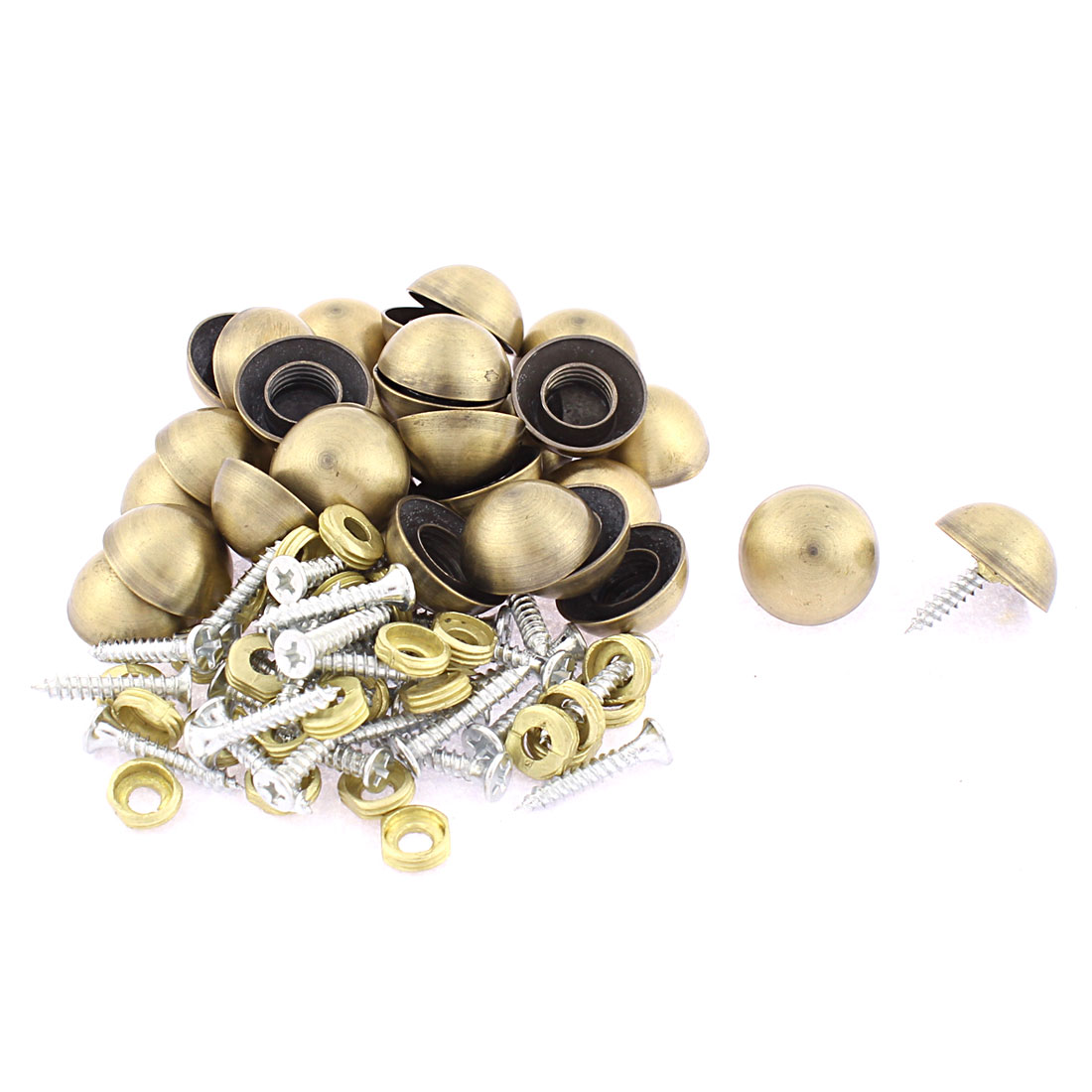30pcs 18.5mm Dia Metal Semicircle Glass Mirror Screw Nail Decor Bronze Tone