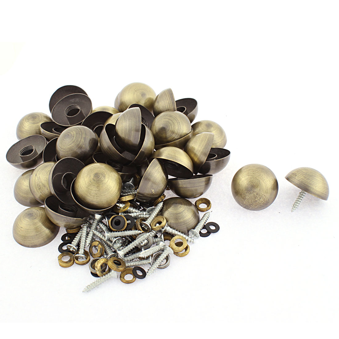 40pcs 27mm Dia Metal Semicircle Glass Mirror Screw Nail Decor Bronze Tone