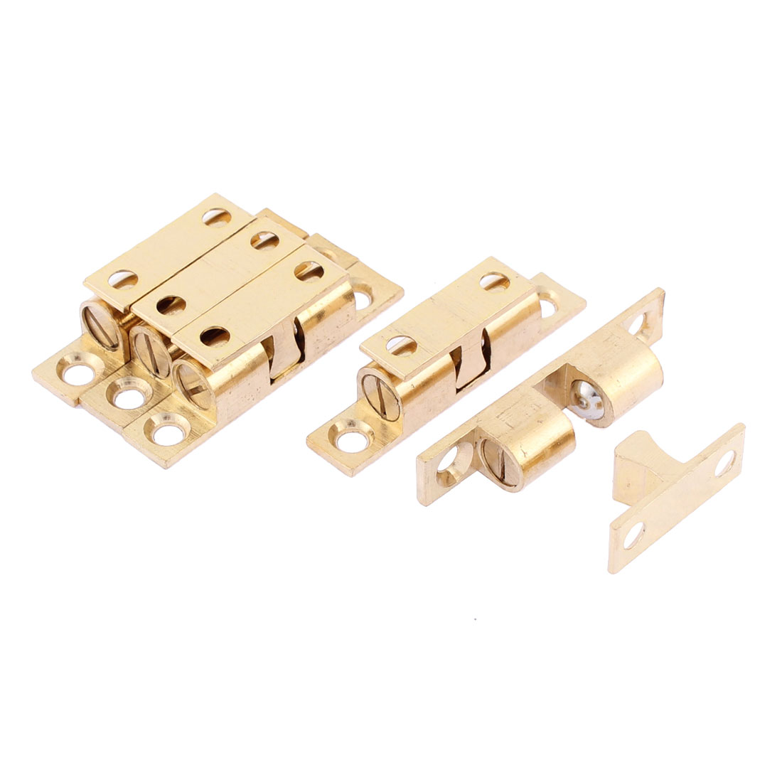 Home Cabinet Door Brass Double Ball Catch 42mm Length 5pcs