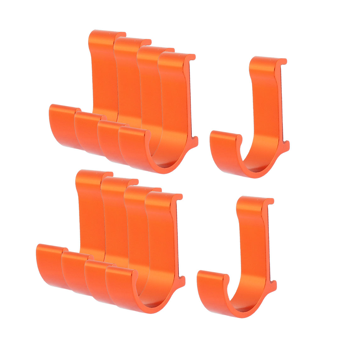 Bedroom Kitchen Clothes Hat Aluminum Wall Hanging Hook Hanger Orange Red 10pcs