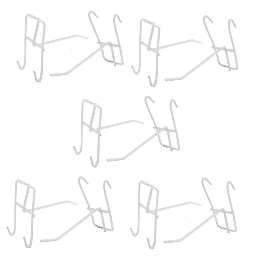 Clothes Towels Hanger Metal Grid Wall Bracket Display Hooks White 10 Pcs