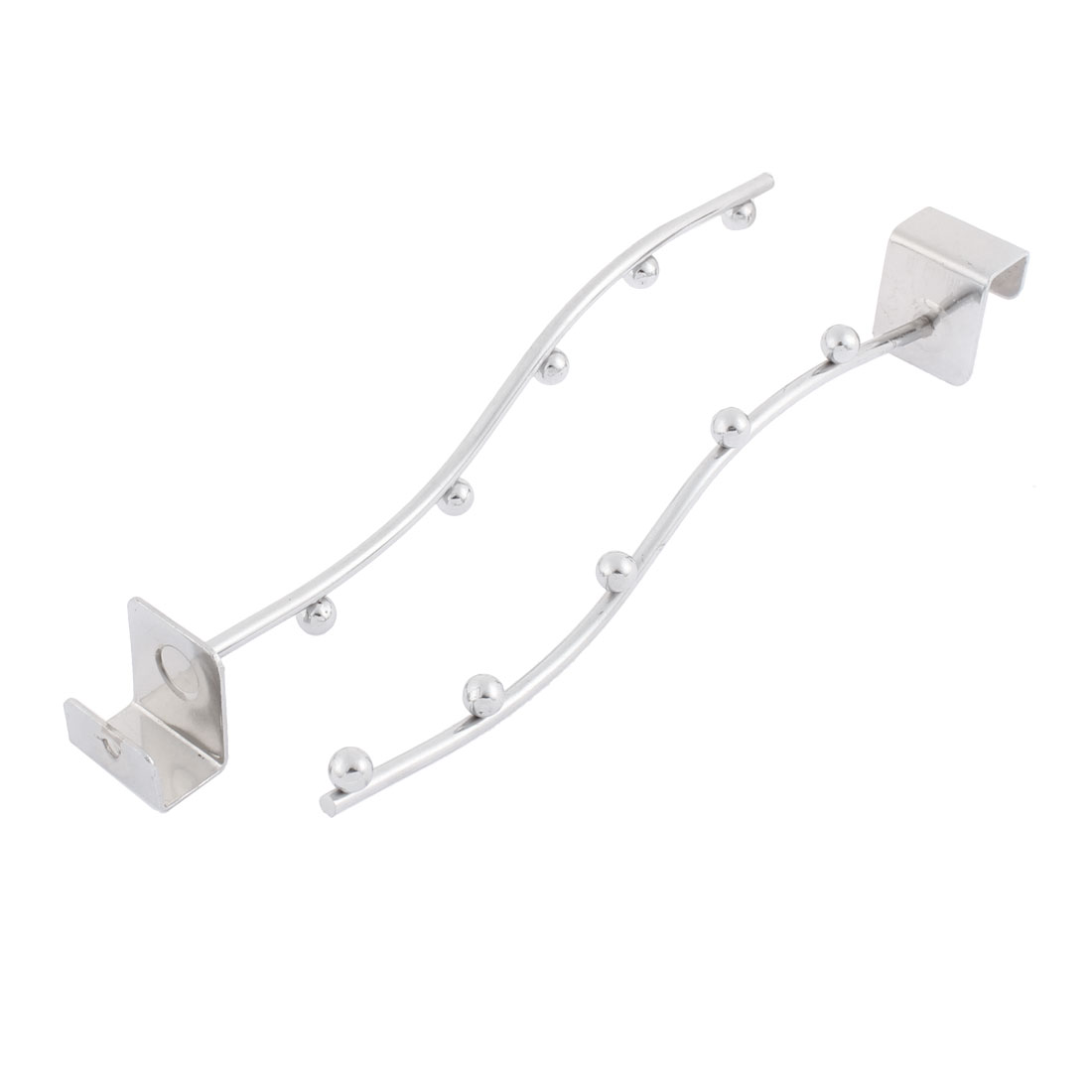 Store Garment Hanging Metal 5 Beads Wall Bracket Display Hook Silver Tone 2pcs