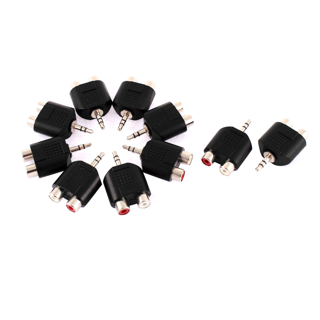 10pcs 3.5mm Male Mono Jack to 2 RCA Female Video Audio Adapter Splitter Connector