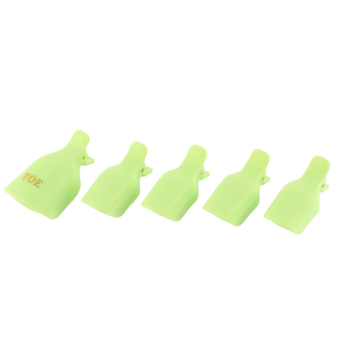 5 in 1 Reusable Green Plastic Nail Art Soak Off Clip Soakers Polish Remover Wrap Cleaner DIY Cap