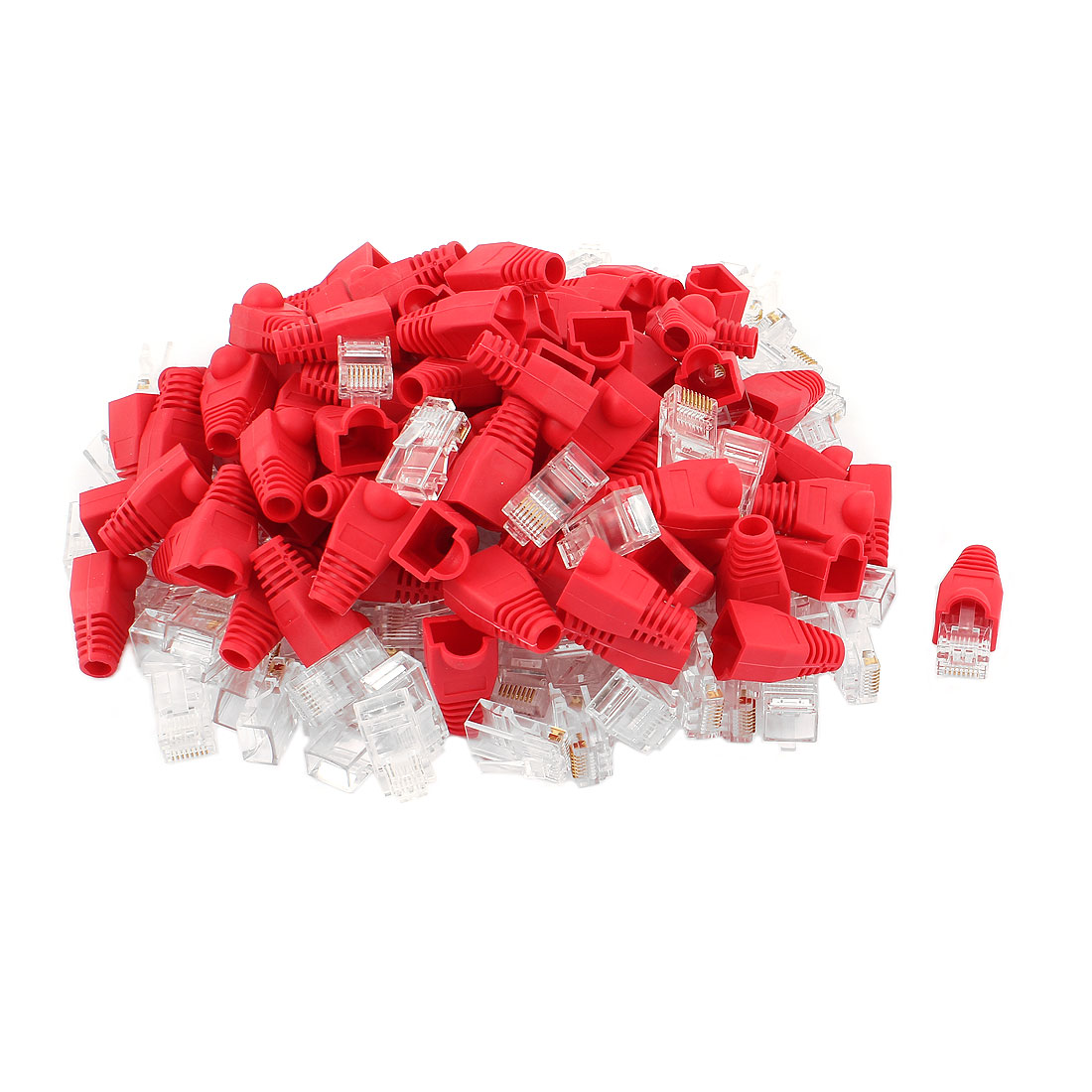 100pcs 8P8C Cat6 Patch RJ45 Head Shielded Modular Jack Plug End Adapter w Boot Protector Red