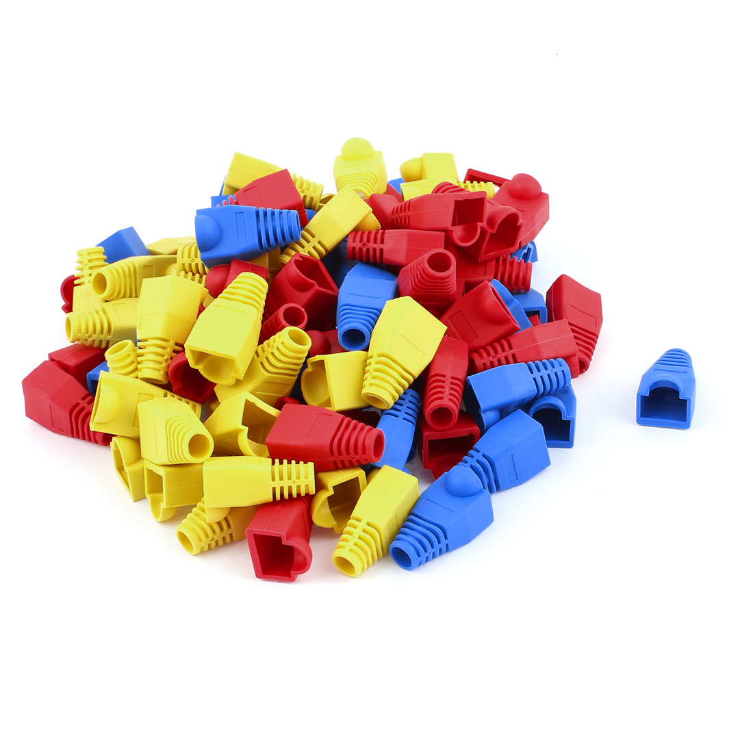 100pcs Plastic RJ45 8P8C Cat5 Network Cable Adapter Boot Cap Cover Protector Blue Red Yellow