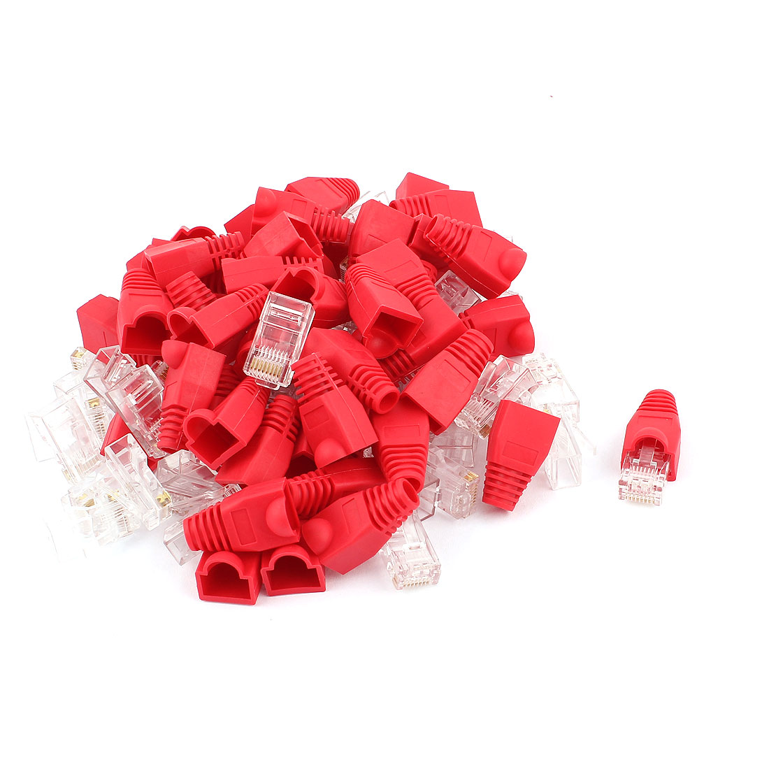 50pcs 8P8C Cat6 Patch RJ45 Head Modular Network Jack End Adapter w Boot Protector Red